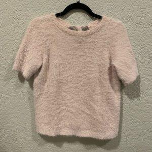 Loft fuzzy pink short sleeve bow tie back sweater